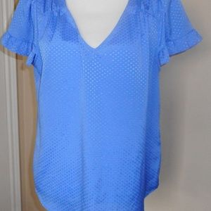 CeCe Blue Top Size L Short Sleeves
